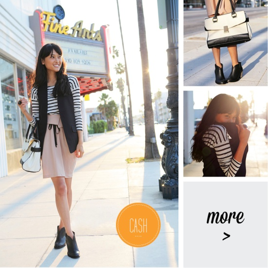 black and cream stripes h&m skirt