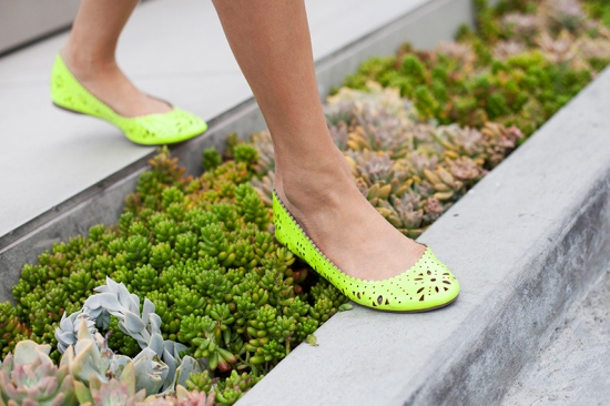 gap neon patent leather flats