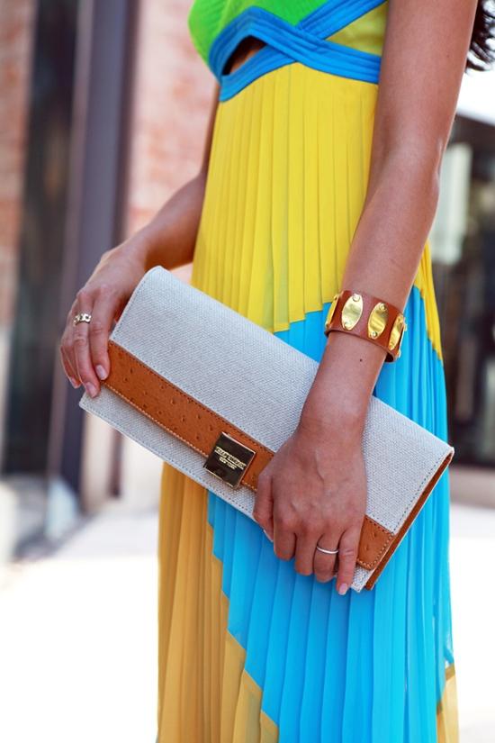 Isaac Mizrahi clutch - Sue Wong colorblock dress
