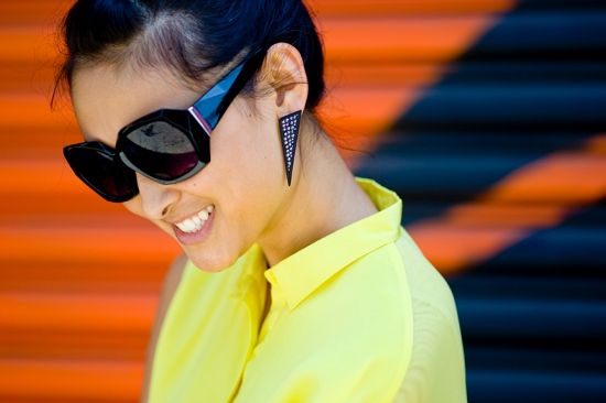 Jeepers Peepers Eva D frame Alex Chloe earrings