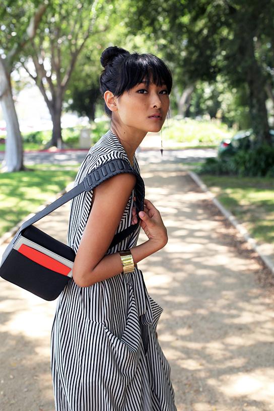 BCBG silk striped dress H&M colorblock purse