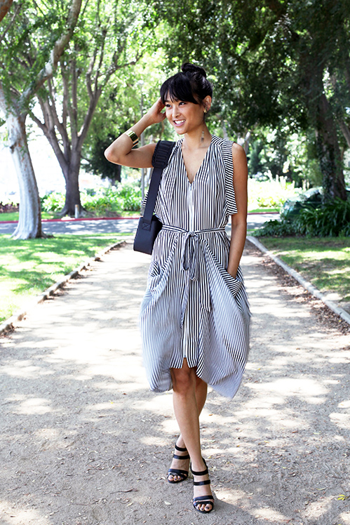 BCBG silk striped dress