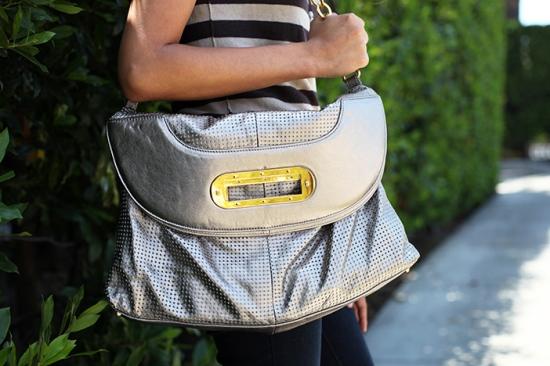 bcbgmaxazria metallic leather purse