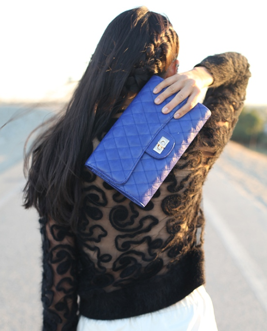 blue sparrow diamond quilt clutch