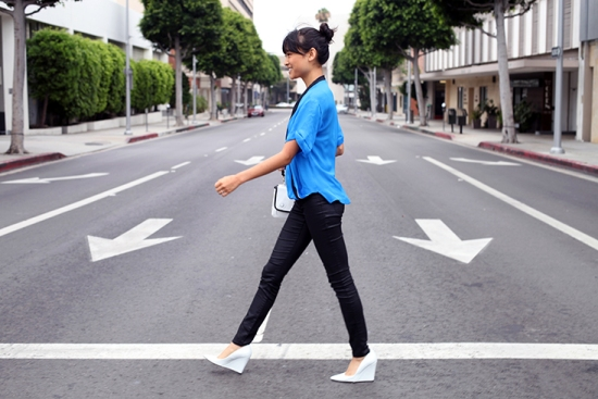 zara tri-color crossover blouse blue silk top !it jeans crossing street