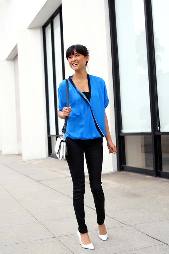zara tri-color crossover blouse blue silk top !it jeans