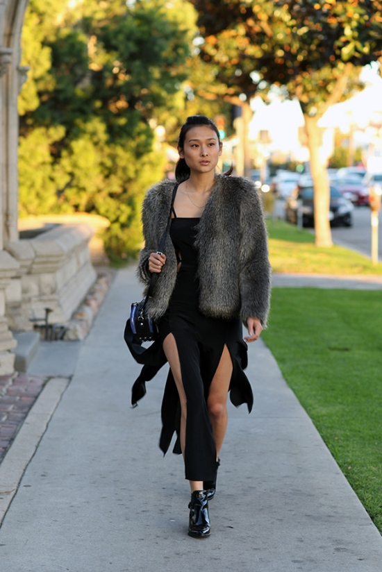catching couture nasty gal shakuhachi split silk dress zara leather ankle boots with strap h&m faux fur coat