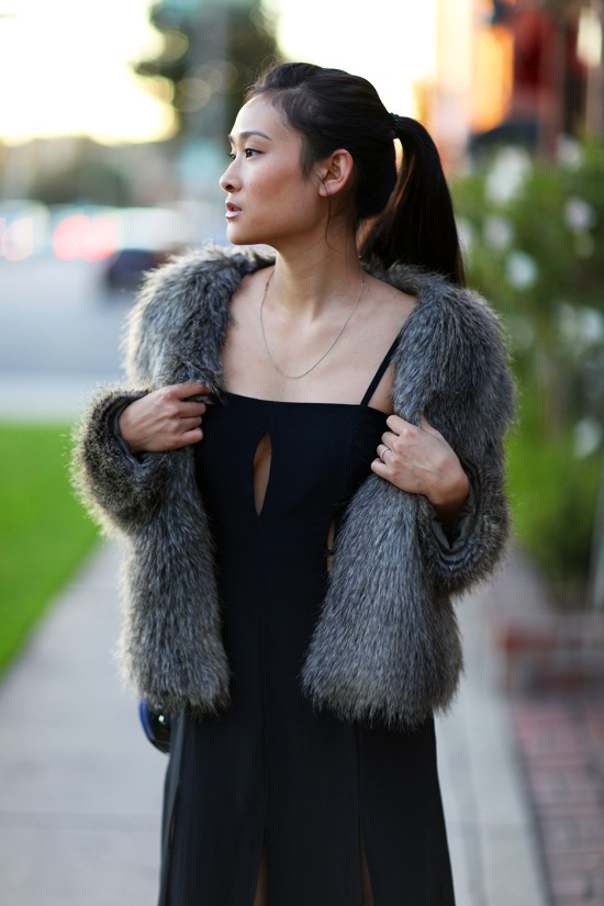 catching couture shakuhachi split silk maxi dress h&m faux fur coat