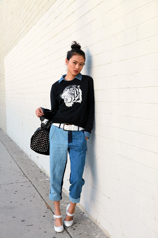 catching couture zara sweatshirt zara jeans zara studded barrel bag dkny shoes