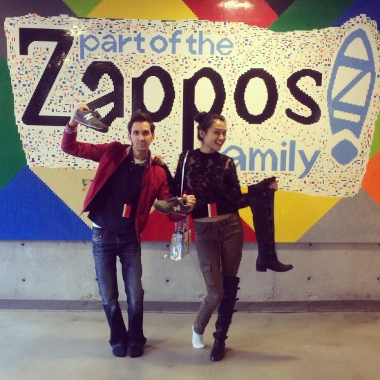 Zappos headquarters lobby Zappos sign