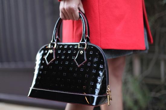 arcadia black patent leather embossed satchel purse 2