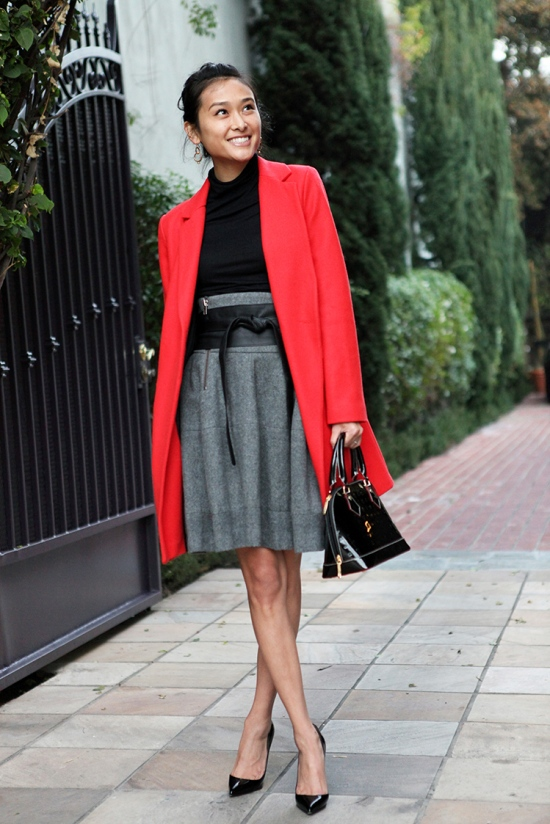 catching couture michelle forstadt asos red wool coat h&m high waisted wool skirt