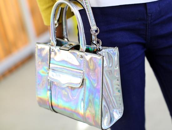 rebecca minkoff mab tote mini platinum silver hologram