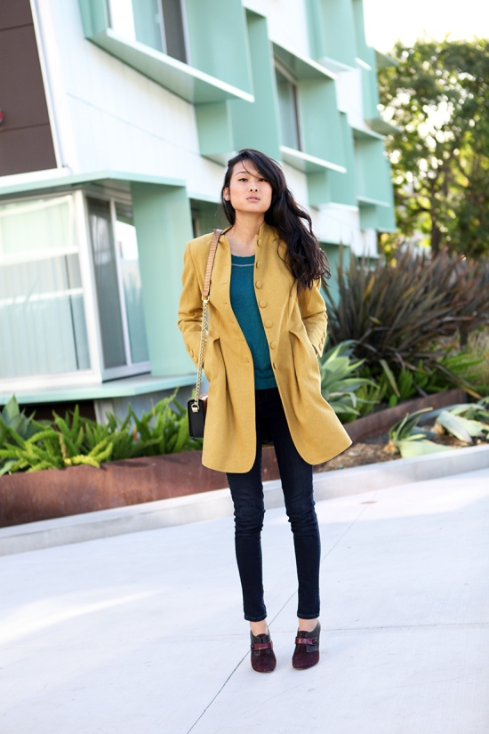 asos wool mustard coat
