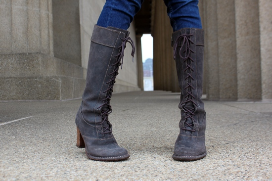 frye villager lace up boots in espresso