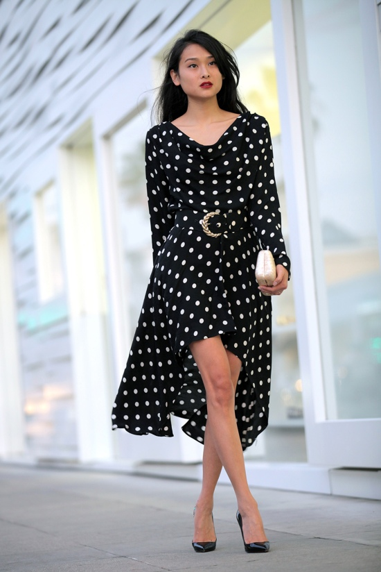 catching couture vintage silk polka dot dress christian louboutin pumps