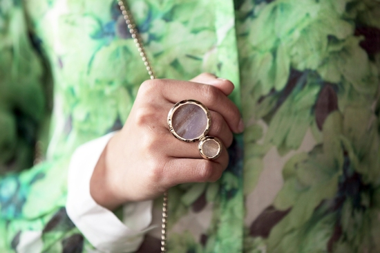 meredith wendell gold marble dot ring