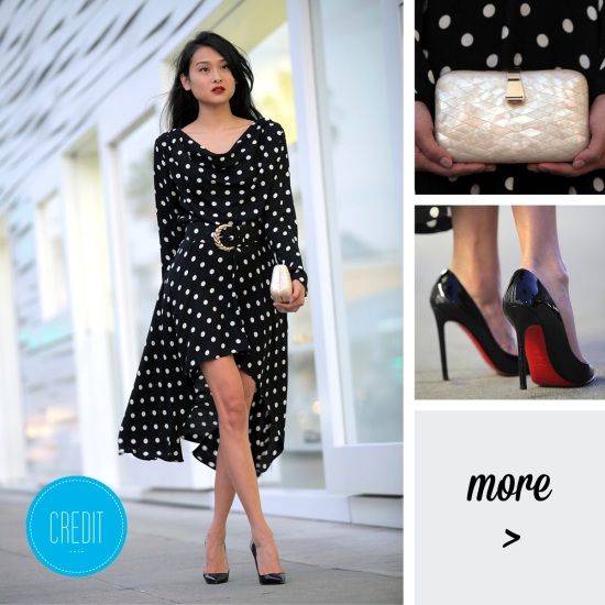 vintage silk polka dot dress christian louboutin pumps catching couture