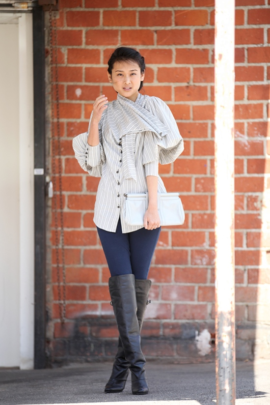 catching couture michelle forstadt rachel roy shirt denimocracy anarchy knit jeans