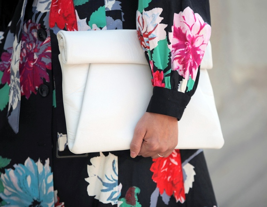 zara white leather rolled clutch