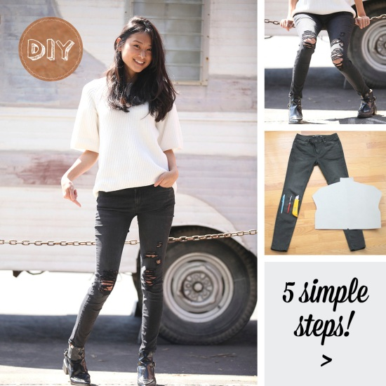 DIY: Distressed Skinny Jeans « Catching Couture