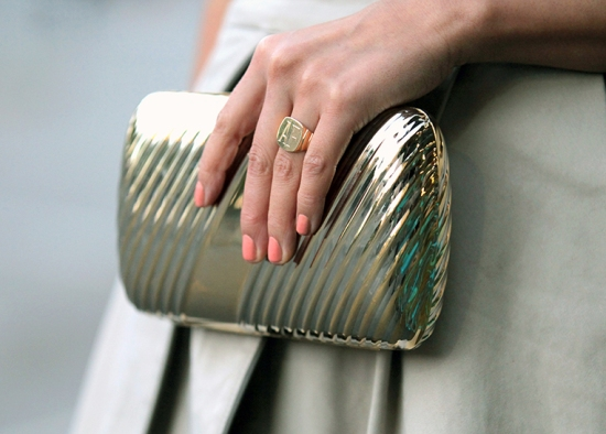 vintage metal clutch peach nail polish