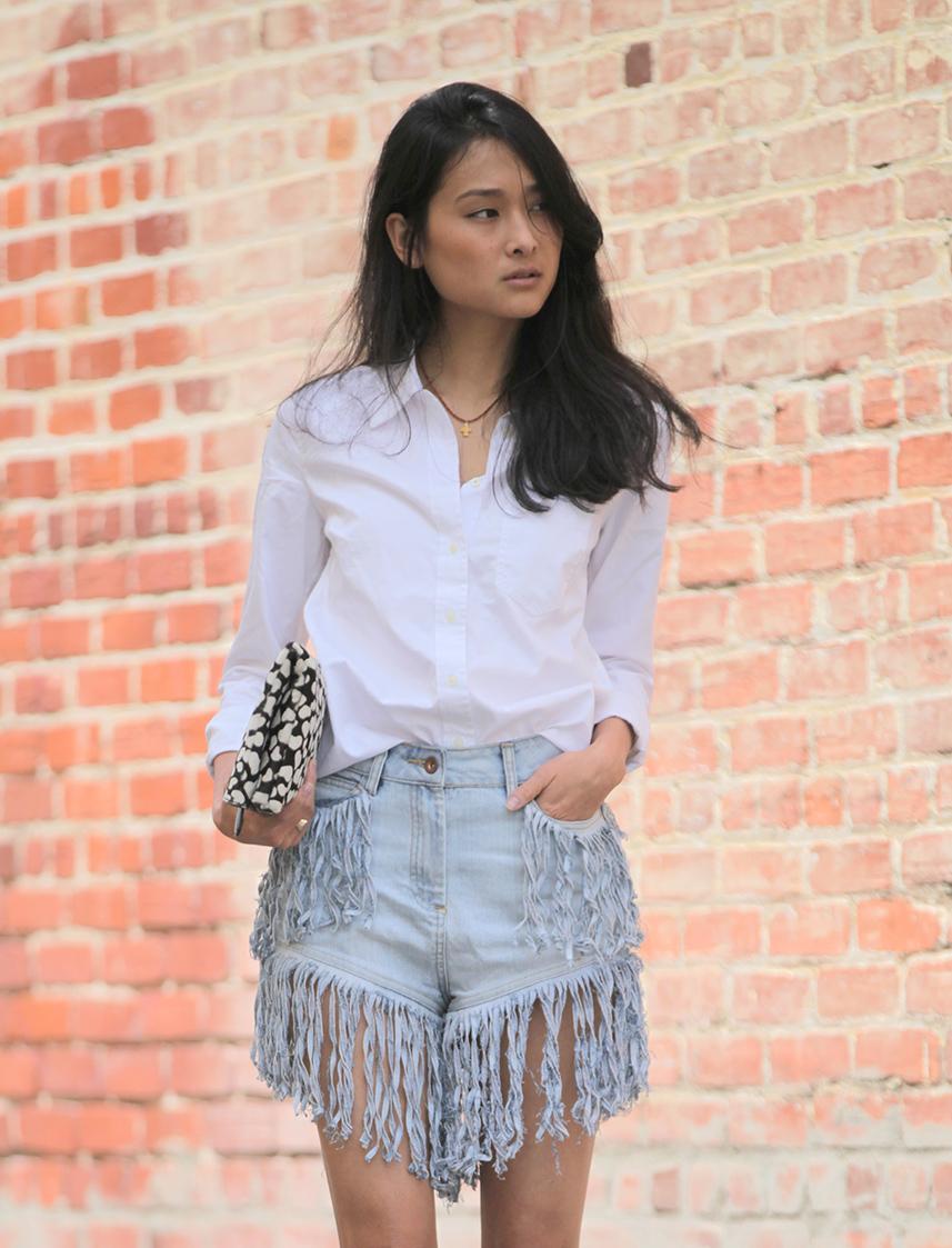 rihanna fringe shorts