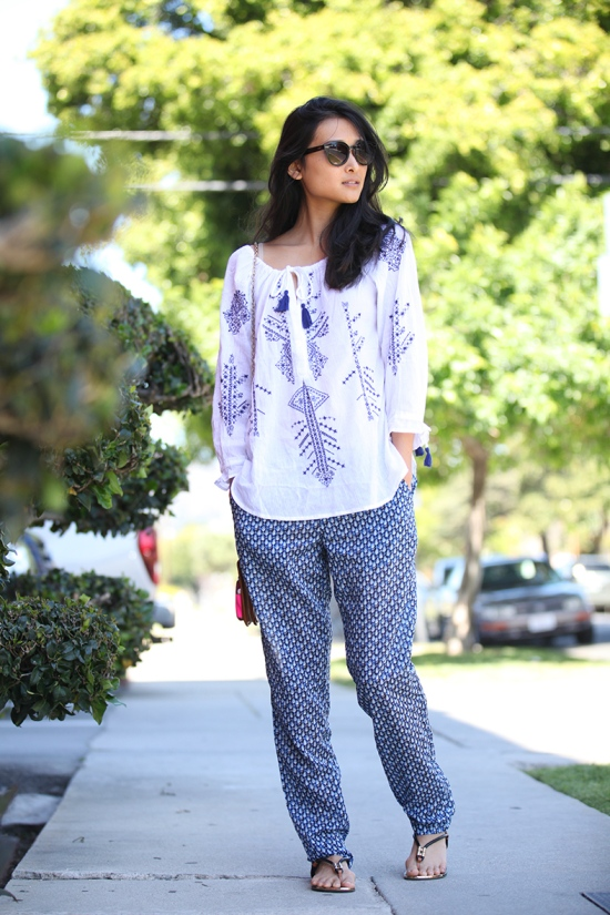 h&m embroidered tunic with tassels patterned pants