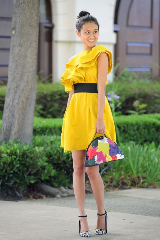 lanvin for h&m one shoulder asymmetrical yellow ruffle dress