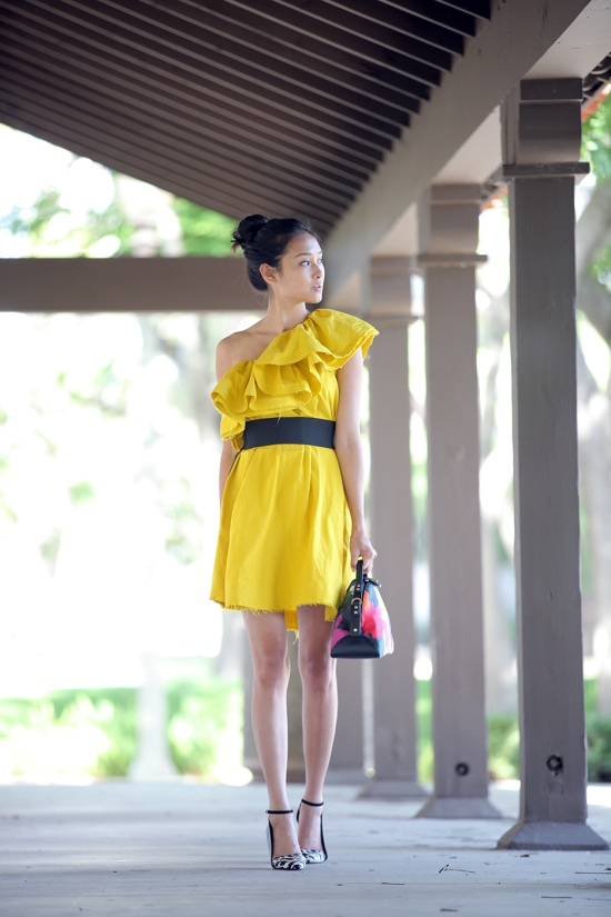 lanvin for h&m yellow ruffle dress