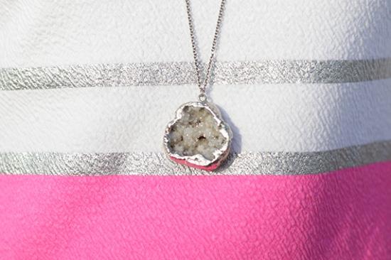 druzy necklace silver metal