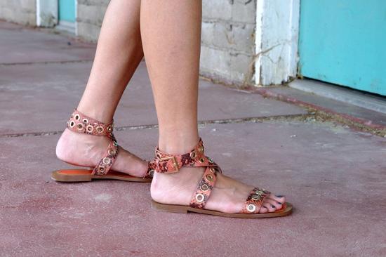 zara snakeskin print leather wrap studded sandals