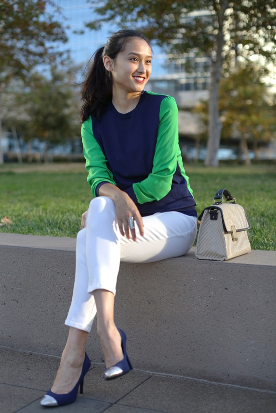 3.1 phillip lim for target pullover navy green colorblock sweater