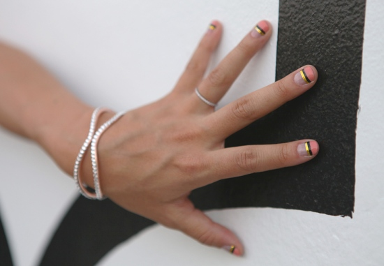 chamak by priya kakkar beatrice rose gold cuff with rhinestones nail art