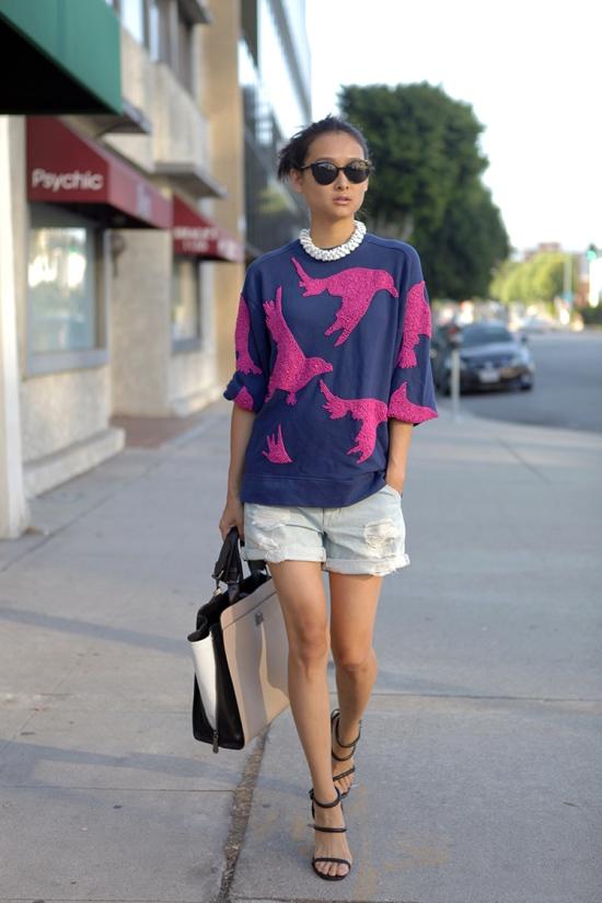hm beaded sweatshirt distressed denim shorts
