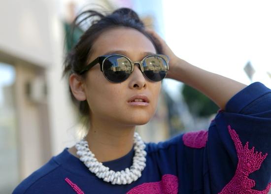 kiss round sunglasses zara metal link necklace
