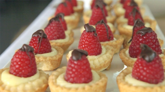 vanilla bean creme and raspberry tartlets