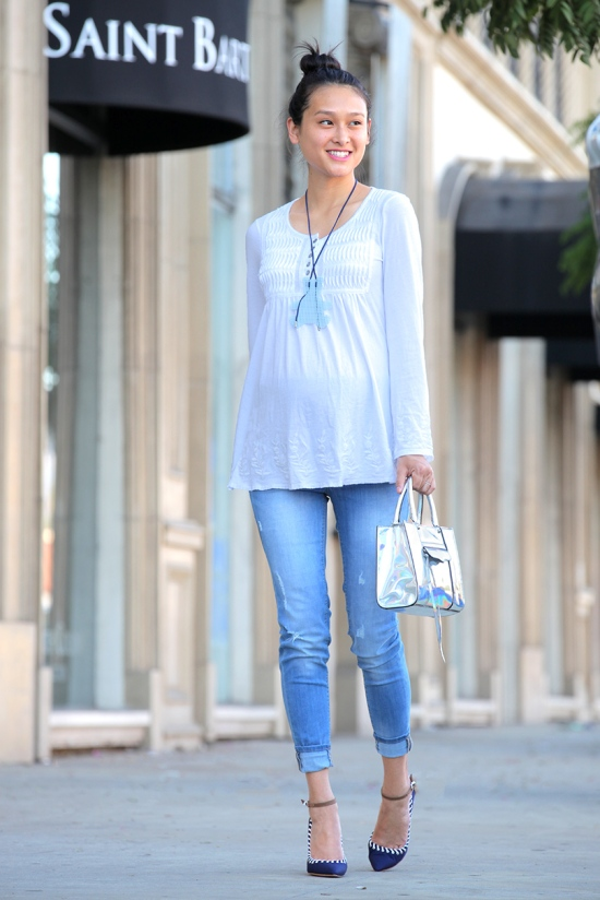 cable and gauge embroidered top h&m jeans maternity