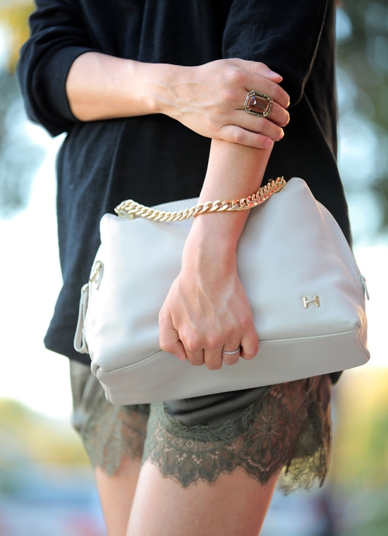 halston heritage baby chain satchel hm lace satin drawstring shorts