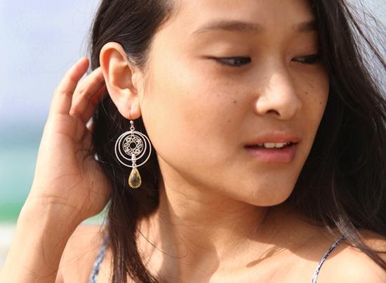 candy ice earrings flower design silver earrings lemon quartz pear charm gems