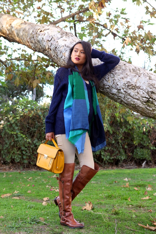 cos plaid scarf zara knit navy sweater sam edelman paulina boots