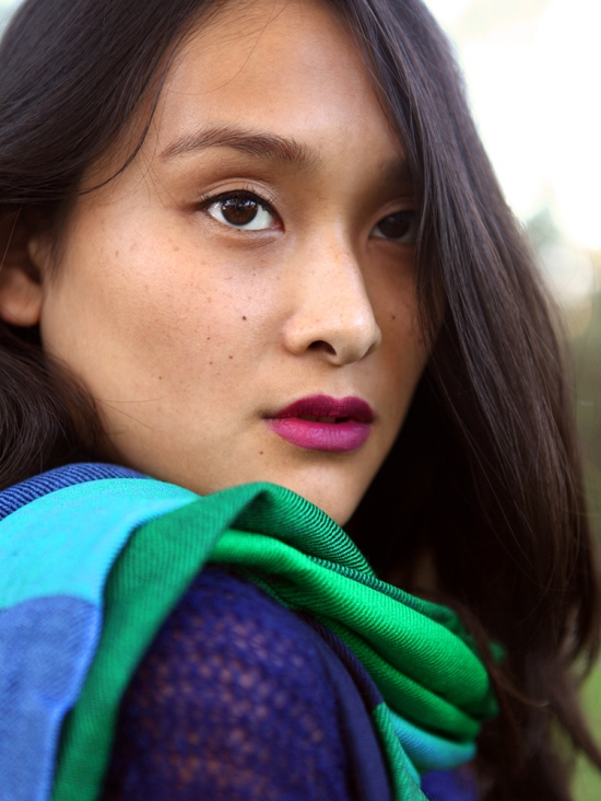 michelle forstadt catching couture cos checked wool scarf mac cosmetics rebel lipstick