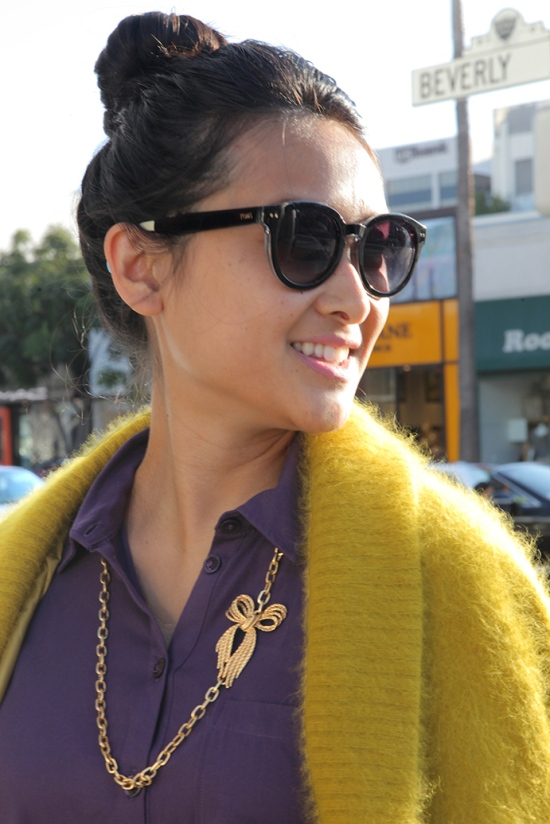 toms bellevue shiny black sunglasses gold chain bow necklace vintage angora mustard sweater