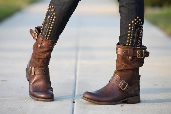 cat footwear midi boots brown leather current elliott zip stiletto studded skinny jeans