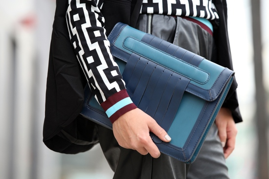 asos leather clutch with fringing teal essie sand tropez nail polish