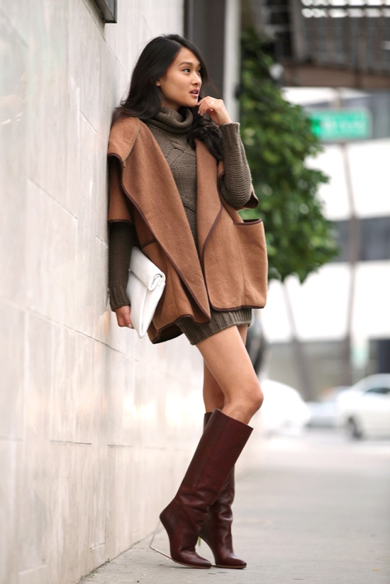 h&m wool cape coat maison martin margiela acrylic heel boots catching couture