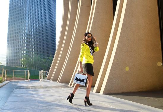 Loeffler Randall Rider black white satchel h&m wrap-front skirt black