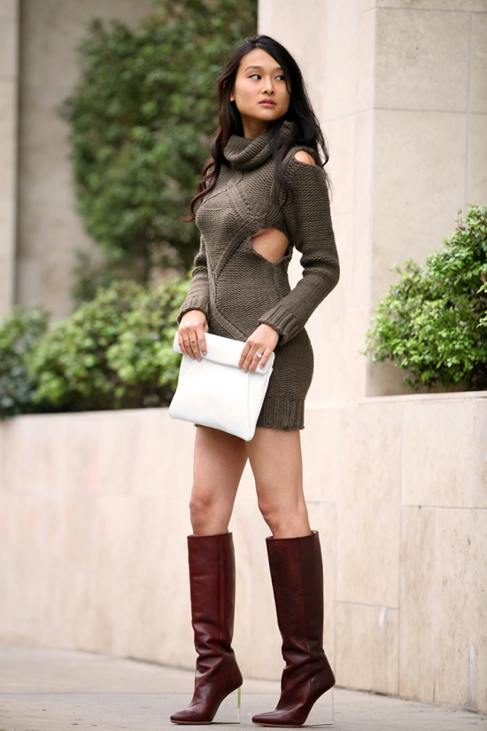michelle forstadt rehab cutout sweater dress zara rolled leather clutch