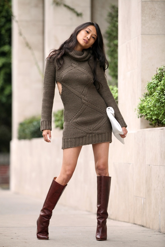 rehab olive cutout sweater dress