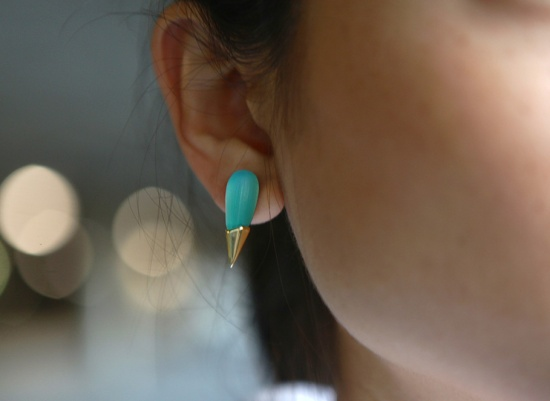 alexis bittar gold capped spike stud lucite earring gropal